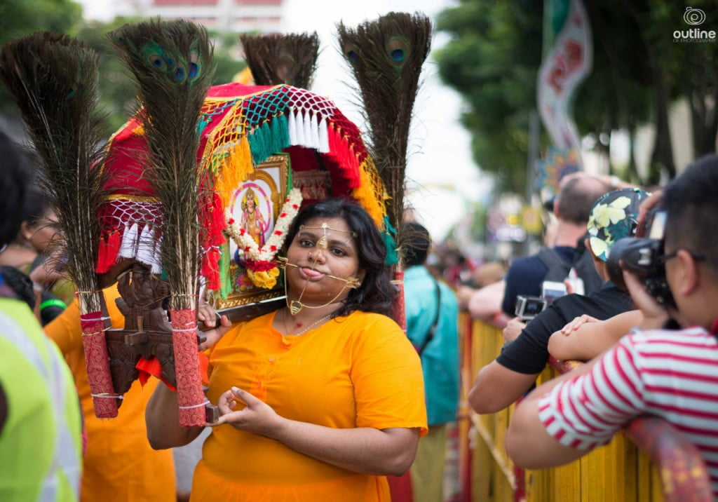 Devotee Carrying Kavadi for Thaipusam